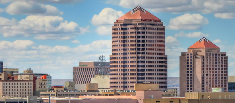 View of buildings in downtown Albuquerque