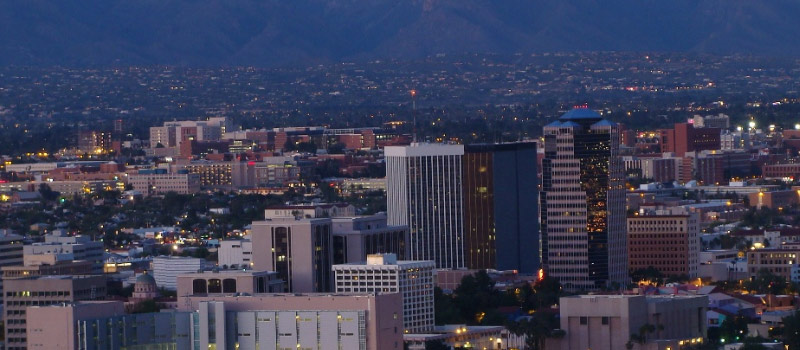 Aerial view of downtown Tucson at dusk