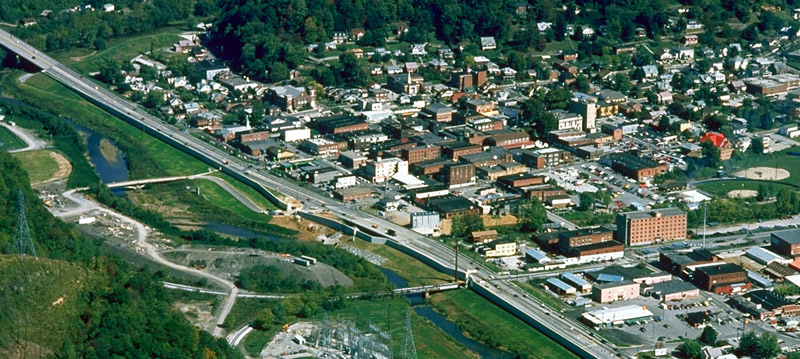 Aerial view of Harlan, KY