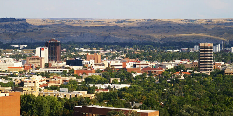 View of Billings, Montana, and surrounding mountains