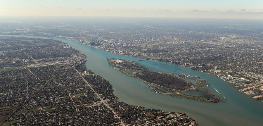 Aerial view of downtown Detroit and the Detroit River