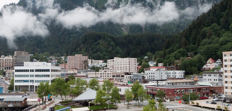 Downtown Juneau overlooked by Mount Juneau