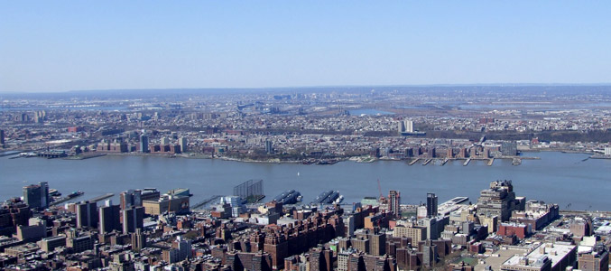 The Hudson River dividing New York and New Jersey
