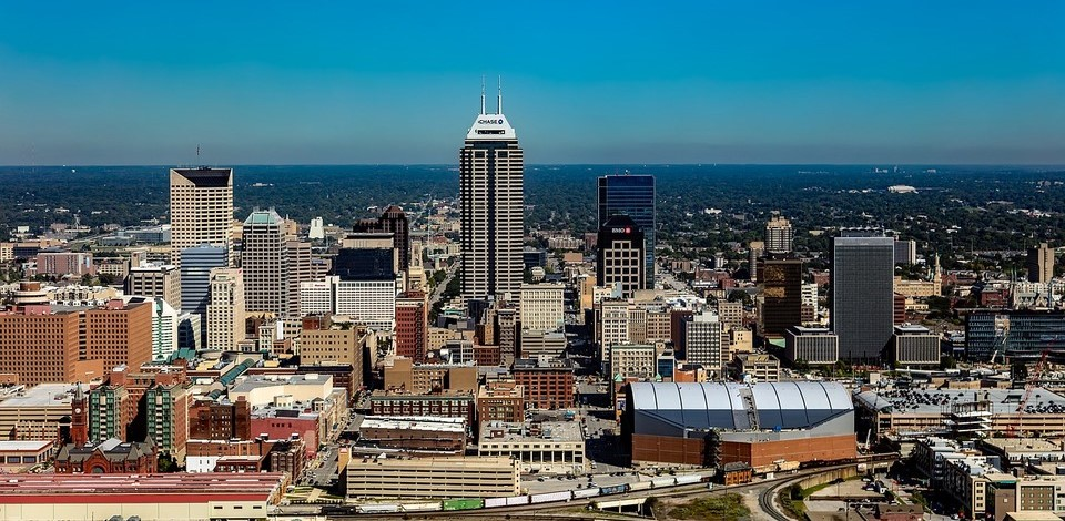 Aerial view of downtown Indianapolis, IN