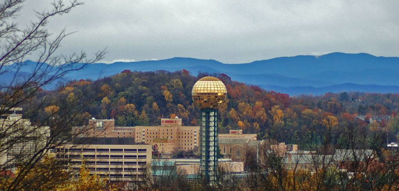 Fall colors over Knoxville, Tennessee