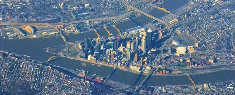 Aerial view of downtown Pittsburgh between three rivers
