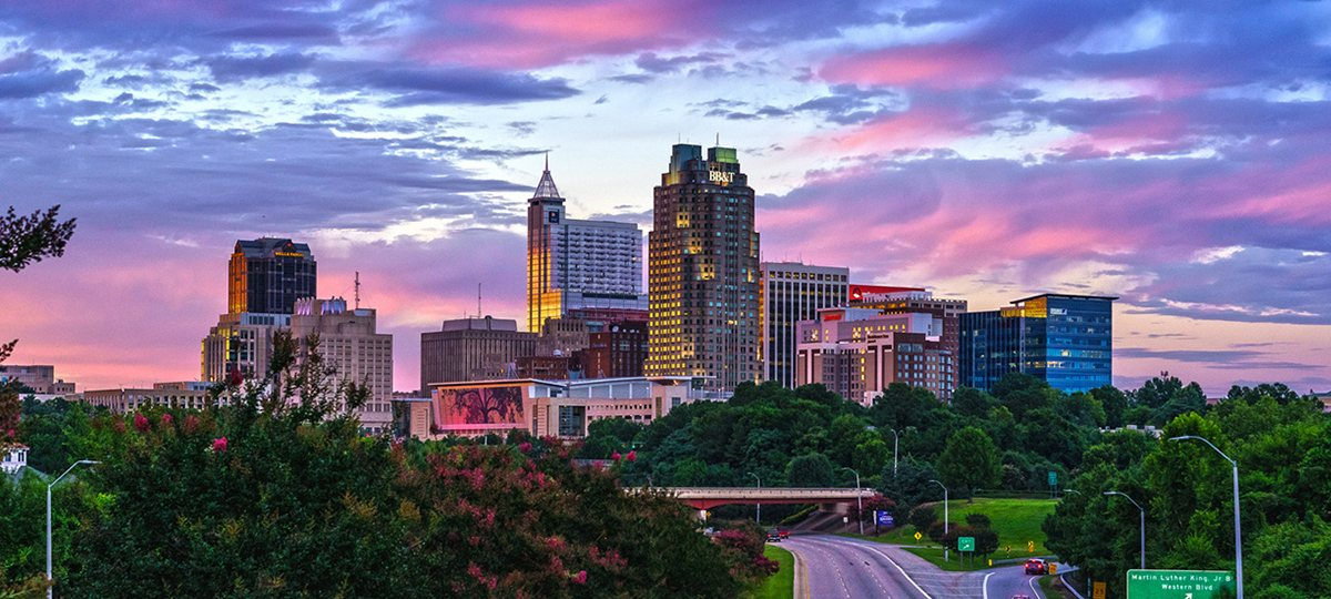 Beautiful shot of downtown Raleigh, NC