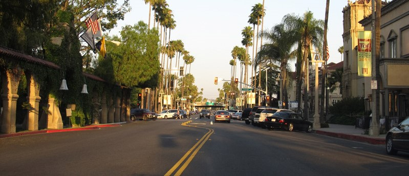 Palm-lined street in Riverside, Califronia