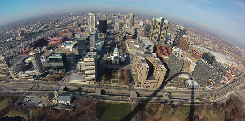 Fisheye aerial view of downtown St. Louis
